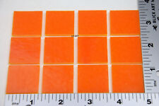 "0025.30 OPAQUE TANGERINE ORANGE 12 PIECES 1"" x 1"" 3mm BULLSEYE GLASS 90 COE"