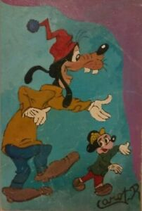 Vintage Walt Disney Art Old signed painting Goofy Mickey Mouse