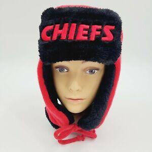 New Era Kansas City Chiefs Helmet Head Trapper Knit Hat Red/Black NFL Football