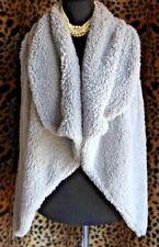 LOVE BY DESIGN Gray Faux Fur Open Bolero Shrug Vest Sz M Knit Back Draped Front