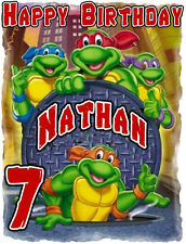 NINJA TURTLES HAPPY BIRTHDAY Party T-SHIRT Personalized Any Name/Age 2T-ADULT