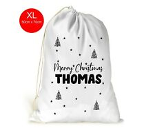 Personalised Christmas Sack/Bag/Stocking/For Him/Her/Modern Black Style.. Xmas