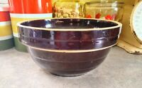 "Primitive Brown Glaze Pottery 9"" Bowl, Marked USA"