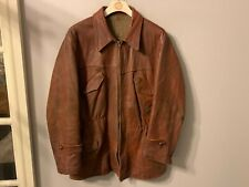 VINTAGE 40's WW2 FRENCH RESISTANCE DISTRESSED LEATHER CYCLIST JACKET SIZE M