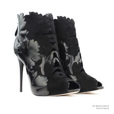 Alexander McQueen Lotus Flower Black Leather Suede  Ankle Boots Heels IT37.5