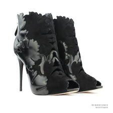 Alexander McQueen Black Leather Suede Lotus Flower Ankle Boots Heels IT39 UK6