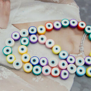 40-pack Polymer Clay Round Bead Evil Eye Spacer Beads Bracelet Necklace DIY 10mm