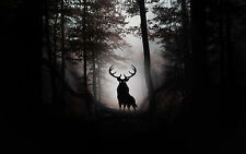 Framed Print - Evil Stag in a Gothic Horror Dark Forest (Picture Poster Wood)