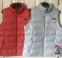 $149 NWT Womens The North Face Nuptse 2 Puffer Vest 700 Fill Down Ice Blue Coral