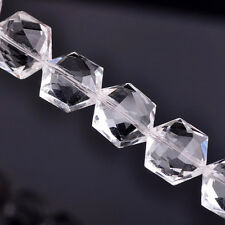 5pcs Faceted Crystal Glass Hexagon Charms Loose Beads Fit Handmaking Findings