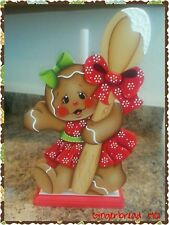 New listing Hp Gingerbread girl with red dress Paper Towel Holder, Gingerbread Decor, Spoon