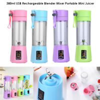 380ml Mini USB Rechargeable Electric Juicer Bottle Fruit Blender Mixer Portable
