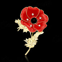 Unisex Crystal Diamante Pleated Pin Badge Poppy Flower Brooch Remembrance Gift