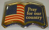 "Vintage USA American Flag Bible Lapel Pin ""Pray For Our Country"" Brooch/Hat Pin"