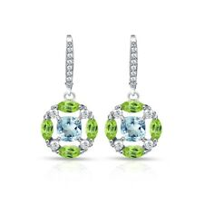 925 Silver Blue Topaz, Peridot and White Topaz Circle Dangle Leverback Earrings