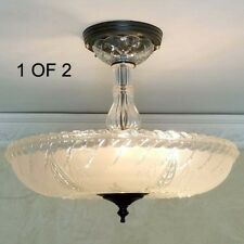 430b Vintage 40s art deco Glass Ceiling Light Lamp Fixture chandelier antique