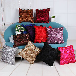UK 4PCS Elegant Home/Car 3D Rose Flower Satin Cushion Throw Pillow Cover