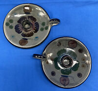 Pair Of  Tonala Mexico Hand Painted candle holder pottery ceramic