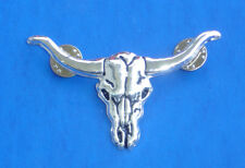Western Antiqued Silver Longhorn Hat Pin/Tie Tack/Lapel Pin