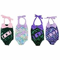 USA Kids Baby Girls Mermaid Swimwear Swimsuit Bikini Bathing Suit Costume 2t-8