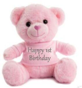 Happy Birthday Pink Teddy bears Personalised Super Soft Cuddly celebrate xmas