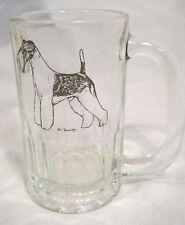 Clear Glass Mug Tankard w/Terrier Dog