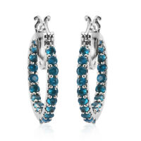 Platinum Over 925 Sterling Silver Neon Apatite Hoop Hoops Earrings Gift Ct 2.3