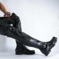 Mens Leather Black Round Toe new Over Knee Riding Boots Dance Cosplay Shoes @