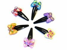 La Peach Fashions Lovely Bright Coloured Fimo Butterfly Snap Clips Assorted C...