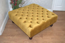 Hand Made Square Chesterfield  Deep Button  Footstool in Gold Velvet  Fabric