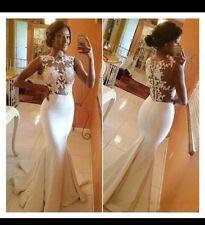 UK White/Ivory Sheer Back Mermaid  Appliqué Evening Prom Wedding Dress Size 6-16