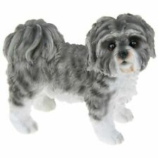 More details for shihtzu grey and white dog ornament figurine gift boxed