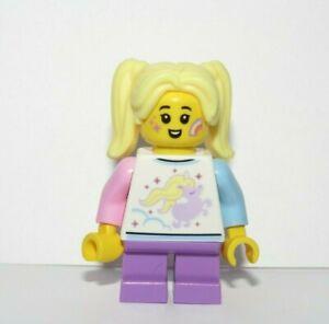LEGO Female Girl Minifigure Unicorn Top Rainbow Star Face Paint Blonde Ponytail
