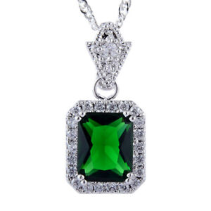 Oval Green Emerald Heart CZ 18K White Gold Plated Slide Pendant Necklace Chain