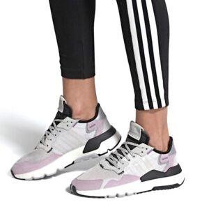 $130 Adidas Womens NITE JOGGER Wide Purple Athletic Sneakers Shoes Flats 7 NIB