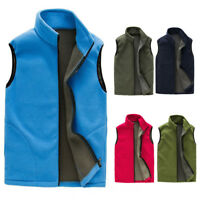 Men's Sleeveless Vest ZIPPER Full Zip Up Polar Fleece Climber Jacket Warm M-3XL