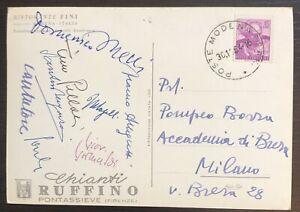 Rara Cartolina pittore Pompeo Borra a firma gruppo celebri artisti - 1964