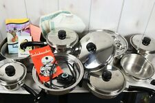 Large Lot Vtg Saladmaster Cookware Set 18-8 Tri Clad Stainless Electric Skillet