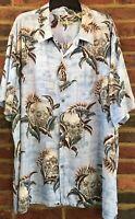Batik Bay Hawaiian Shirt Palm Trees Tiki Huts Blue Green Button Down Size XXL