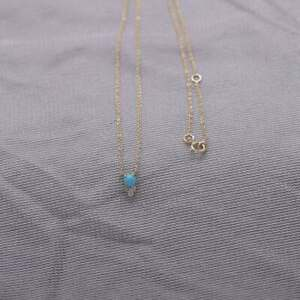 Sleeping Beauty Turquoise & Diamond Pendant Chain Necklace 18K Yellow Gold Over
