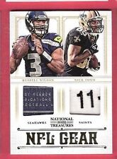 RUSSELL WILSON NICK TOON ROOKIE JERSEY LAUNDRY TAG CARD #d9/49 NATL TREASURES