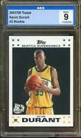 Kevin Durant Rookie Card 2007-08 Topps #2 AGS 9