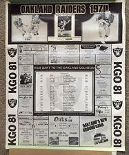 "1978 OAKLAND RAIDERS POSTER 23"" X 29"" New Rare Schedule"