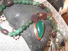 "17"" Copper Necklace Green Agate Amulate Pendant Choker Green Purple Aventurine"