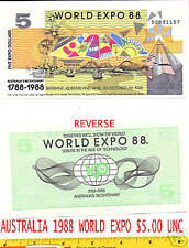 AUSTRALIA 1988 WORLD EXPO $5.00 NOTE- UNCIRCULATED