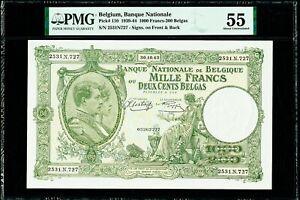 Belgium 1000 Francs - 200 Belgas 30.10.1943 Pick-110 About UNC PMG 55