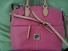 $280 Dooney & Bourke PINK Pebbled Leather Satchel with Front Pockets A202338