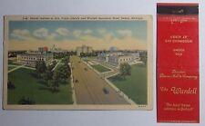 1930'S POSTCARD & MATCHBOOK COMBO WARDELL APARTMENT HOTEL DETROIT MICHIGAN