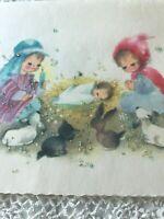 Vintage Christmas Card Nativity Mary Joseph Baby Jesus Children Sugared Glitter