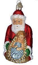 Old World Christmas 40227 Baby Jesus & Santa New Glass Ornament No Owc Box